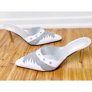 00d1b77a489 Escada Shoes - Escada White   Gray Star Pattern Leather Heels